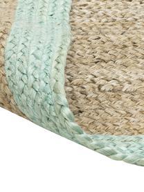 Ręcznie wykonany dywan z juty Shanta, 100% juta, Beżowy, miętowy zielony, S 80 x D 150 cm (Rozmiar XS)