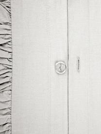 Gewassen katoenen dekbedovertrek Florence met franjes, Weeftechniek: perkal Draaddichtheid 180, Lichtgrijs, 240 x 220 cm + 2 kussen 60 x 70 cm