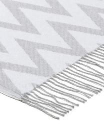 Baumwolldecke Ella mit Zickzack-Muster, 100% Baumwolle, Grau, Hellgrau, 140 x 170 cm