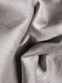 Sofa-Hocker Alva aus Samt in Taupe mit Buchenholz-Füßen, Bezug: Samt (Hochwertiger Polyes, Gestell: Massives Kiefernholz, Füße: Massives Buchenholz, gebe, Taupe, 74 x 30 cm