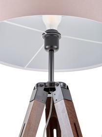 Tripod Stehlampe Josey aus Walnussholz, Lampenschirm: Textil, Lampenfuß: dunkles Walnussholz, Lampenfuß: Walnuss, Schwarz<br>Lampenschirm: Taupe, Ø 70 x H 150 cm
