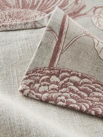 Obrus z bawełny Freya, 86% bawełna, 14% len, Beżowy, czerwony, Dla 4-6 osób (S 145 x D 200 cm)