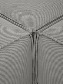 Canapé modulable 4 places velours côtelé gris avec pouf Lennon, Velours côtelé gris