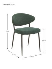 Krzesło tapicerowane Adele, 2 szt., Stelaż: metal malowany proszkowo, Zielony, S 54 x G 57 cm