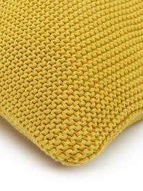 Strick-Kissenhülle Adalyn aus Bio-Baumwolle in Senfgelb, 100% Bio-Baumwolle, GOTS-zertifiziert, Senfgelb, 50 x 50 cm