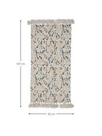 Tappeto in cotone con nappe Filipa, 100% cotone, Beige, multicolore, Larg. 65 x Lung. 120 cm (taglia XS)