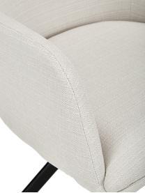Beklede draaistoel Lola met armleuning, Bekleding: polyester, Poten: gepoedercoat metaal, Geweven stof crèmewit, B 55 x D 52 cm