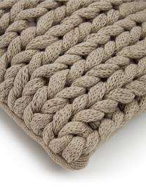 Federa arredo a maglia grossa fatta a mano Adyna, 100% poliacrilico, Beige, Larg. 30 x Lung. 50 cm