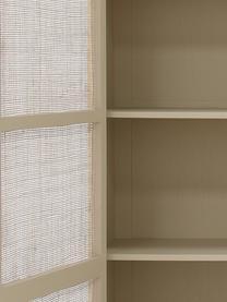 Kleiderschrank Retro mit Regalfächern, Korpus: Sukai-Holz, Mitteldichte , Griffe: Messing, Sandfarben, 125 x 200 cm