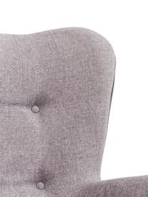 Poltrona ad ala grigia Vicky, Rivestimento: poliestere Con 50.000 cic, Gambe: legno di quercia, massicc, Tessuto grigio, Larg. 73 x Prof. 83 cm