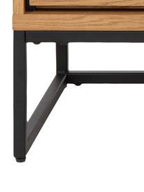 Sideboard Dalarna mit Schubladen und Eichenholzfurnier, Korpus: Mitteldichte Holzfaserpla, Füße: Metall, pulverbeschichtet, Wildeichenholz, Schwarz, 150 x 76 cm