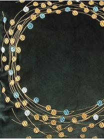 Samt-Kissenhülle Circle mit besticktem winterlichem Motiv, Polyestersamt, Dunkelgrün, Goldfarben, 45 x 45 cm