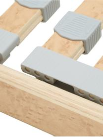 Lattenrost Comfort Plus, Rahmen: Schichtholz, Metall, Leisten: Federholzleisten mit Wurz, Mittelgurt: Kunstfaser, Kappen: Kunststoff, Hellbraun, 80 x 200 cm