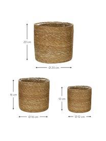 Komplet osłonek na doniczkę z juty Julka, 3 elem., Juta, Beżowy, Różne rozmiary