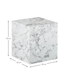 Stolik pomocniczy z imitacją marmuru Lesley, Płyta pilśniowa średniej gęstości (MDF) pokryta łatwą w pielęgnacji folią melaminową imitującą marmur, Biały, imitacja marmuru, S 45 x W 50 cm