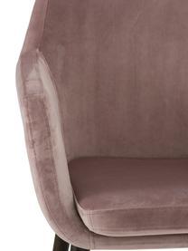 Krzesło z podłokietnikami z aksamitu Nora, Tapicerka: aksamit poliestrowy Dzięk, Nogi: drewno dębowe, bejcowane, Aksamitny blady różowy, nogi: ciemny brązowy, S 58 x G 58 cm