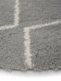 Hochflor-Teppich Velma in Grau/Cremeweiß, Flor: 100% Polypropylen, Grau, Cremeweiß, Ø 150 cm (Größe M)