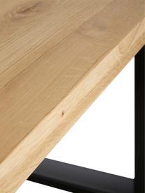Tavolo con piano in legno massello Oliver, Piano del tavolo: doghe di quercia selvatic, Gambe: metallo verniciato a polv, Quercia selvatica, Larg. 160 x Prof. 90 cm