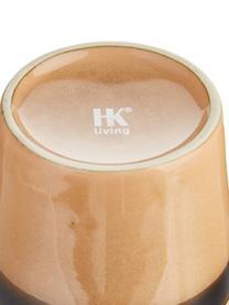 Handgemaakte XS bekers 70's in retro stijl, 4 stuks, Keramiek, Bruin, perzikkleurig, crèmekleurig, Ø 8 x H 8 cm