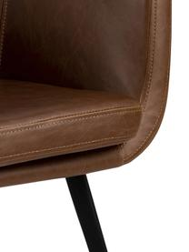 Krzesło z podłokietnikami ze sztucznej skóry Nora, Tapicerka: sztuczna skóra (poliureta, Nogi: metal powlekany, Koniakowy, czarny, S 58 x G 58 cm