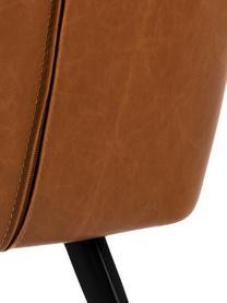 Sedia in similpelle con braccioli Nora, Rivestimento: pelle ecologica (poliuret, Gambe: metallo rivestito, Similpelle Cognac, Larg. 58 x Prof. 58 cm