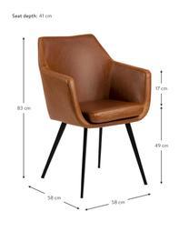 Chaise cuir synthétique pieds en métal Nora, Cuir synthétique cognac