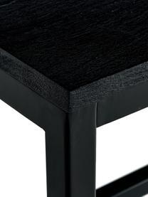 Eettafel Raw met massief houten blad, Tafelblad: massief mangohout, gebors, Frame: gepoedercoat metaal, Tafelblad: zwart gelakt mangohout. Frame: mat zwart, B 180 x D 90 cm