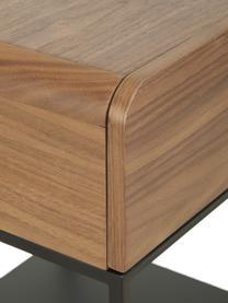Comodino con cassetto Sally, Struttura: metallo verniciato a polv, Marrone, nero, Larg. 45 x Alt. 58 cm
