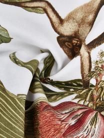 Kissenhülle Monkey mit tropischem Print, 100% Baumwolle, Grün, 45 x 45 cm