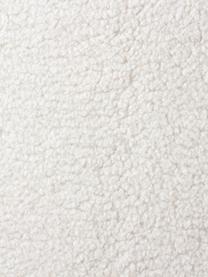Voetenbank Fluente van teddystof, Bekleding: 100% polyester (Teddyfell, Frame: massief grenenhout, Poten: gepoedercoat metaal, Crèmewit, 62 x 46 cm