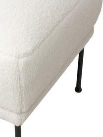 Sofa-Hocker Fluente aus Teddystoff in Cremeweiß mit Metall-Füßen, Bezug: 100% Polyester (Teddyfell, Gestell: Massives Kiefernholz, Füße: Metall, pulverbeschichtet, Teddy Cremeweiß, 62 x 46 cm