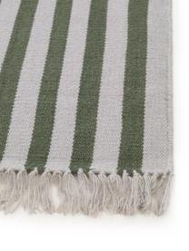 Chodnik z wełny z frędzlami Gitta, 90% wełna, 10% bawełna Włókna dywanów wełnianych mogą nieznacznie rozluźniać się w pierwszych tygodniach użytkowania, co ustępuje po pewnym czasie, Zielony, jasny szary, S 70 x D 200 cm