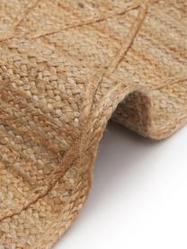 Handgemaakt juten vloerkleed Jason, 100% jute, Beige, B 80 x L 150 cm (maat XS)