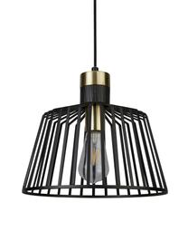 Lampada a sospensione Bird Cage, Paralume: metallo rivestito, Decorazione: metallo rivestito, Baldacchino: metallo rivestito, Nero, dorato, Ø 30 x Alt. 27 cm
