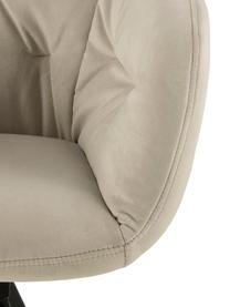 Draaibare fluwelen armstoel Lucie, Bekleding: polyester fluweel, Poten: gelakt metaal, Beige, 58 x 62 cm