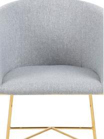 Sedia con braccioli Nelson, Rivestimento: poliestere Con 25.000 cic, Gambe: metallo, cromato, Tessuto grigio chiaro, gambe dorate, Lung. 56 x Prof. 54 cm