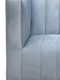 Poltrona da cocktail in velluto azzurro Aveiro, Rivestimento: velluto (100% poliestere), Struttura: legno, Gambe: metallo, Velluto azzurro, Larg. 88 x Prof. 85 cm