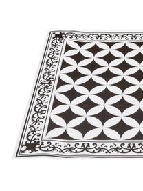 Vlakke vinyl vloermat Chadi in zwart en wit, antislip, Recyclebaar vinyl, Zwart, wit, 136 x 203 cm