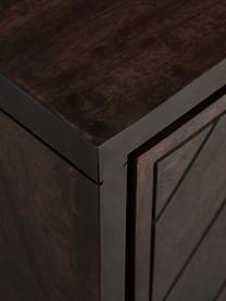 Szafka niska w jodełkę z litego drewna Luca, Korpus: lite drewno mangowe, Stelaż: metal powlekany, Ciemny brązowy, S 180 x W 54 cm