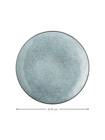 Sottopiatto in gres fatto a mano Nordic Sea 4 pz, Gres, Tonalità grigie e blu, Ø 31 cm