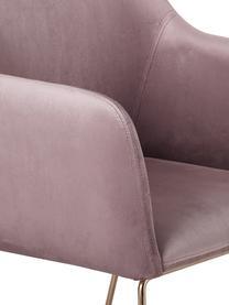 Moderne fluwelen armstoel Isla, Bekleding: fluweel (polyester), Poten: bekleed metaal, Mauve, B 58 x D 62 cm