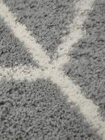 Hoogpolig vloerkleed Cera in grijs/crèmewit, Bovenzijde: 100% polypropyleen, Onderzijde: 78% jute, 14% katoen, 8% , Grijs, crèmewit, B 300 x L 400 cm (Maat XL)