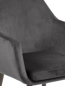 Krzesło z podłokietnikami z aksamitu Nora, Tapicerka: poliester (aksamit), Nogi: drewno dębowe, bejcowane, Ciemnyszary, S 58 x W 84 cm