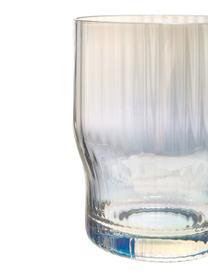 Mundgeblasene Wassergläser Juno mit Rillenrelief und Perlmuttglanz, 4 Stück, Glas, Transparent, Ø 9 x H 11 cm