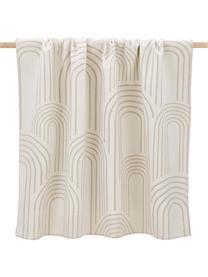 Coperta double face in cotone con motivo astratto Deco, 85% cotone, 15% poliacrilico, Color crema, beige, Larg. 130 x Lung. 200 cm