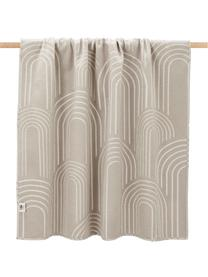 Baumwolldecke Deco mit abstrakten Regenbogenmotiven und unterschiedlicher Vorder/Rückseite, 85% Baumwolle, 15% Polyacryl, Cremefarben, Beige, 130 x 200 cm