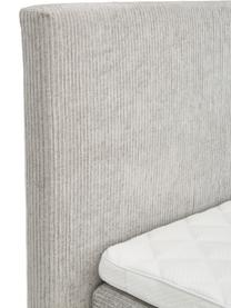 Premium Cord-Boxspringbett Eliza in Hellgrau, Matratze: 5-Zonen-Taschenfederkern, Füße: Massives Birkenholz, lack, Samt Grau, 200 x 200 cm