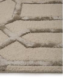 Handgetuft wollen vloerkleed Vegas met hoog-laag effect, Bovenzijde: 80% wol, 20% viscose, Onderzijde: katoen, Beige, crèmekleurig, B 120 x L 185 cm (maat S)