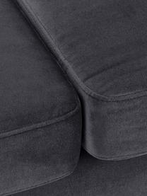 Samt-Sofa Alva (3-Sitzer) in Dunkelgrau mit Buchenholz-Füßen, Bezug: Samt (Hochwertiger Polyes, Gestell: Massives Kiefernholz, Füße: Massives Buchenholz, gebe, Samt Dunkelgrau, B 215 x T 92 cm