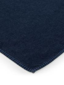 Plaid in pile blu scuro con cucitura Sylt, Tessuto: jacquard, Blu marino, Larg. 140 x Lung. 200 cm